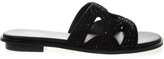 MICHAEL Michael Kors Black Annalee Suede Sandal With Crystals Inserts