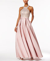 Xscape Evenings Beaded Open-Back Halter Ball Gown