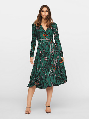 Diane von Furstenberg Amiya Pleated Crepe Midi Wrap Dress
