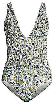 Tory Burch Women's Floral Smocked One-Piece