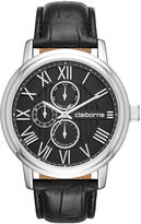 Claiborne Mens Croc-Look Black Leather Strap Watch