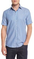 Etro Rectangle-Print Short-Sleeve Sport Shirt, Blue