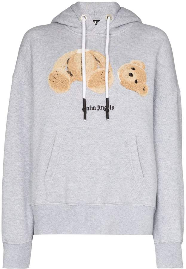 Palm Angels Bear Embroidered Hoodie