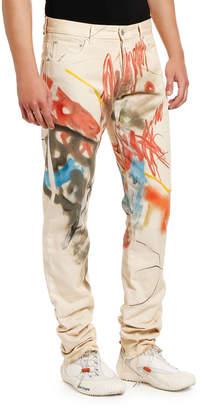 Heron Preston Men's Graffiti-Print 5-Pocket Jeans