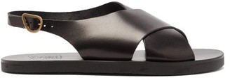 Ancient Greek Sandals Crossover Leather Sandals - Mens - Black