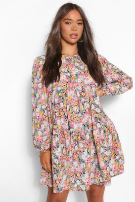 boohoo Floral Extreme Tiered Smock Dress