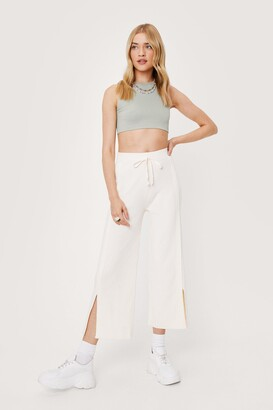 Nasty Gal Womens Slit Playing Games Wide-Leg Jogger Trousers - White - 4