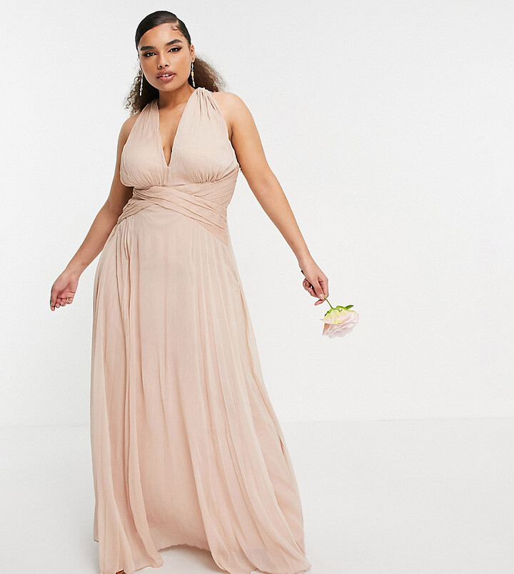 ASOS DESIGN Curve bridesmaid ruched bodice drape maxi dress with wrap waist