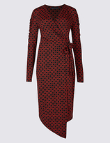 M&S Collection Printed Ruched Sleeve Wrap Midi Dress