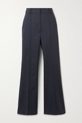 Vanessa Bruno Echalas Herringbone Cotton High-rise Bootcut Pants - Navy