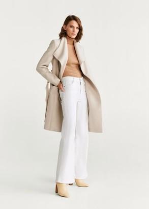 MANGO Belted wool coat ecru - XXS - Women