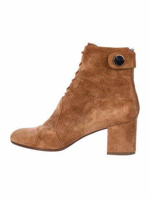 Gianvito Rossi Suede Studded Accents Lace-Up Boots Brown