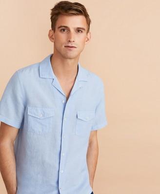 Brooks Brothers Garment-Dyed Linen-Cotton Camp Collar Short-Sleeve Shirt