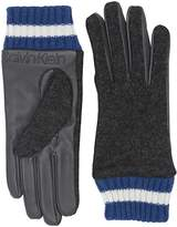 Calvin Klein Leather/Knit Combo Touch Gloves (Heather Mid Grey) Over-Mits Gloves