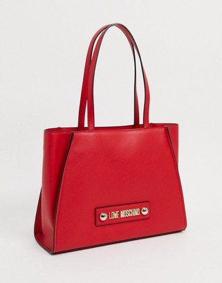 Love Moschino large tote with scarf tie in red