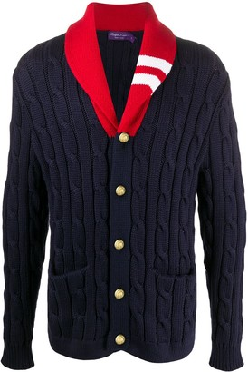Ralph Lauren Purple Label Colour-Block Cable Knit Cardigan