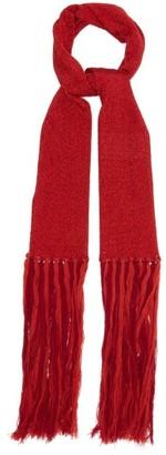 Missoni Metallic Skinny Tasseled Scarf - Womens - Red