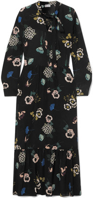 RED Valentino Tie-neck Floral-print Silk Midi Dress