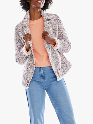 Pure Collection Fringed Tweed Biker Jacket, Multi