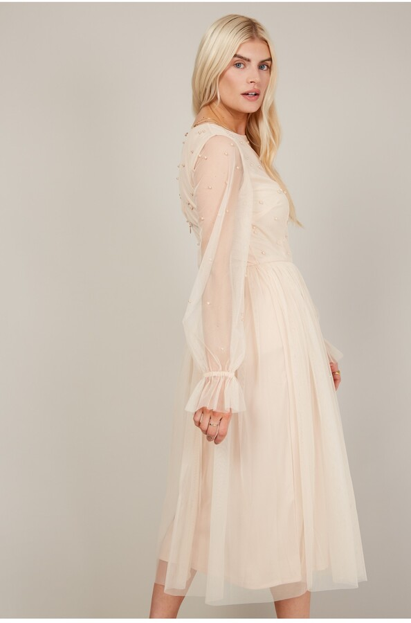 Thumbnail for your product : Little Mistress Nude Embellished Long Sleeve Midi