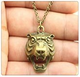 Nobrand No brand vintage antique bronze color 31*24mm tiger head pendant necklace,70cm chain long necklace