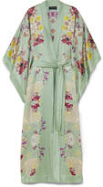 MENG - Printed Silk-satin Robe - Gray green