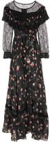 Preen by Thornton Bregazzi Lydia Lace-paneled Printed Devoré Silk-blend Chiffon Gown - Black