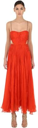Maria Lucia Hohan Cut Out Silk Midi Dress W/ Embellishment