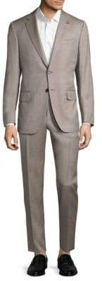 Isaia Men's Regular-Fit Tonal Herringbone Suit