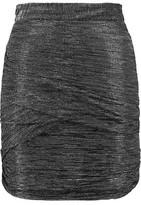 Maje Ruched Metallic Stretch-Knit Mini Skirt