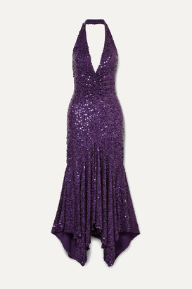 Michael Kors Asymmetric Sequined Stretch-jersey Halterneck Dress - Purple