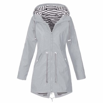 Canifon Coat Womens Hooded Coat Solid Button Pocket Zip Long Sleeve Waterproof Windproof Rain Jacket Outdoor Raincoat Gray