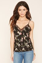Forever 21 FOREVER 21+ Lace-Trim Floral Print Cami