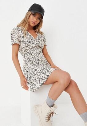 Missguided Stone Floral Half Button Tea Dress
