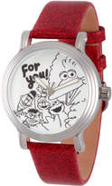 EWatchFactory Silver & Red Sesame Street 'For You' Leather-Strap Watch - Girls