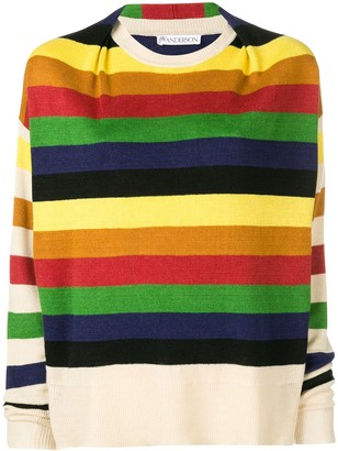 J.W.Anderson women's papaya multicolour stripe knit