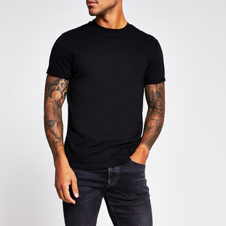 River Island Black slim fit roll sleeve T-shirt