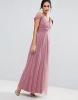 Little Mistress Embellished Drape Shoulder Maxi Dress