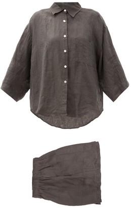 Deiji Studios 03 Short Linen Pyjamas - Black