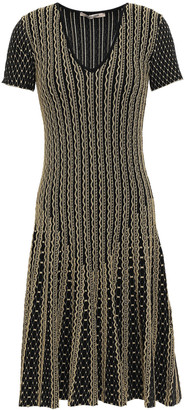 Roberto Cavalli Pleated Metallic Jacquard-knit Dress