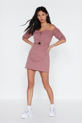 Nasty Gal Womens Utility Work It Off-The-Shoulder Mini Dress - Pink - 10, Pink