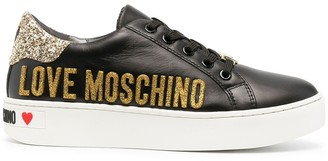 Love Moschino Glitter Leather Low-Top Sneakers