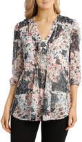 Regatta Patchwork Floral Pleated 3/4 Sleeve Shirt