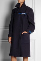 Christopher Kane Leather-trimmed wool coat