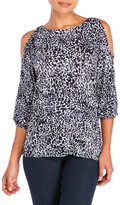 Cable & Gauge Printed Cold Shoulder Top