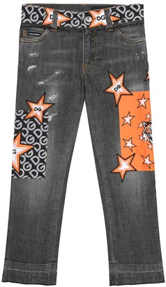 Dolce & Gabbana Kids Embroidered stretch-cotton jeans