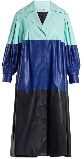 Vika Gazinskaya Pleated Colour Block Faux Leather Coat - Womens - Blue Multi