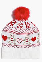 Boohoo Tia Gingerbread Fairisle Beanie Hat