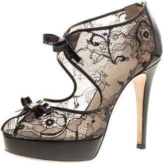 Ballin Black Lace Bow Detail Peep Toe Platform Sandals Size 38.5