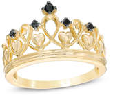 Zales Enhanced Black Diamond Accent Heart Crown Ring in Sterling Silver with 14K Gold Plate